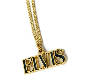 """Vintage Elvis Pendant Necklace Jewelry namwplate  necklace 18"""""""