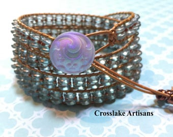 Four-wrap copper and blue translucent beaded wrap