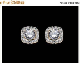ON SALE Bridal stud earrings, crystal stud earrings, small wedding earrings, gold plated studs