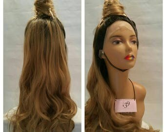 Ombre honey blonde dark roots lace front wig