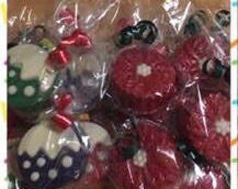 Ornament and Poinsettia Chocolate Covered Oreos