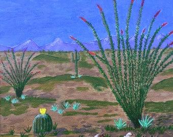 Ocotillo Desert, ORIGINAL Arizona Painting, Art, Acrylic Painting, Arizona Souvenir, UNIQUE gift, 8x8in, MelidasArt