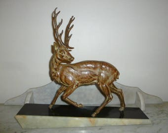 Art Deco period French animalist multi brown spelter sculpture of a stag on onyx base sign JILOT 1920s