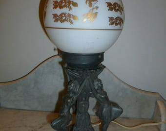 French Art Deco period spelter table lamp 3 figural dancing ladies circa 1920s