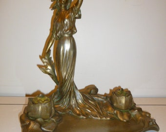 Antique large French Art Nouveau figural lady gilt bronze inkwell signed circa 1890s