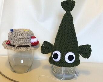 Crochet Fisherman and Fish Hats Newborn Photography Prop/Fisherman Newborn Photo Prop/Baby Shower Gifts/Infant Halloween Costumes/Cake Smash
