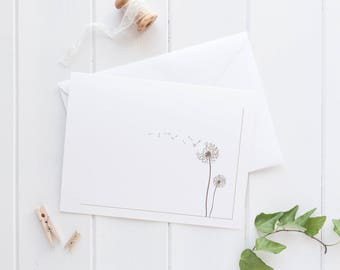 Note cards dandelion (6) - Folded note cards - Note cards with envelopes - Note card set - NC005