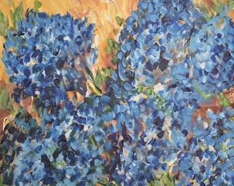 Printable Art Print, Blue Hydrangeas Flowers, Colorful Wall Art, 8x10 Print, 11x14 Print, 16x20 Print, Instant Download, modern wall decor