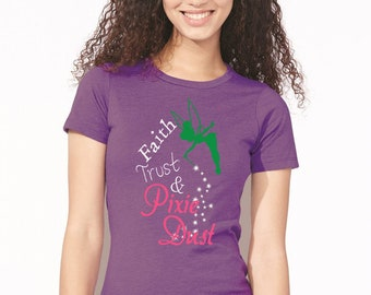 Faith Trust and Pixie Dust, Peter Pan, Ladies' Short Sleeve T-shirt