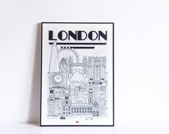 "London - series illustration ""Travel With Me"". Black and white. 21 x 29.7 cm"