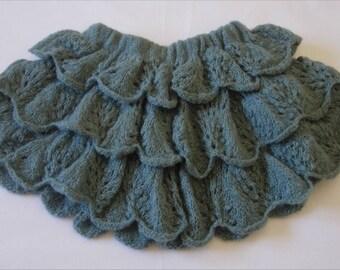 Jupe en laine à volant gris bleu 3/4 ans