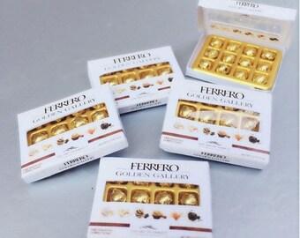 MidYear Sale15% Miniature Chocolate Box,Miniature Paper Box,Miniature Chocolate,Miniature Ferrero,Dollhouse Chocolate,Dollhouse Box,Miniatur