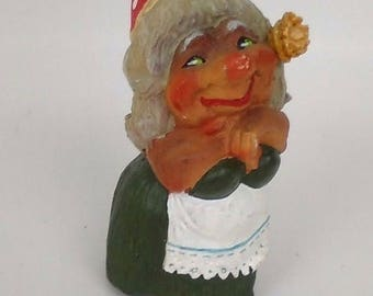 """ON SALE Vintage Henning Norway Troll Figurine Gnome Troll Collectible 3.5"""" inches. Women Troll Girl Troll Figurine"""