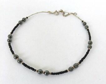 """Vintage Anklet Black Glass Bead 925 Sterling Silver Ankle Bracelet, Black Anklet, Sterling Silver Ankle Bracelet 10"""" inch Anklet"""