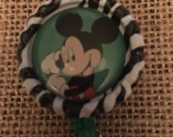 Mickey Mouse inspired Bottlecap Retractable ID Badge Holder Name Tag Reel