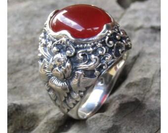 Silver ring flower motif carnelian stone
