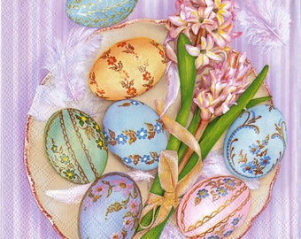 "6 Decoupage Paper Napkins Easter Flowers Eggs 33x33 cm. 13""x13"" set of 6 pcs"
