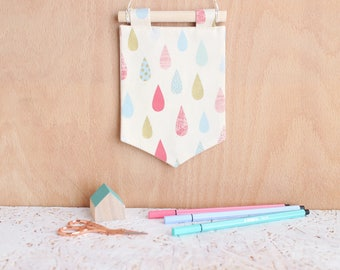 Mini Pin or Earring Banner Display - handmade pennant, wall hanging perfect for displaying pin or jewellery collections