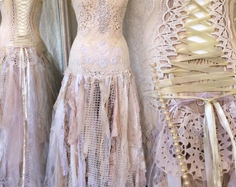 Wedding dress fairy goddess,ethereal bridal gown,bridal gown gold and cream,boho wedding tattered dress,farm wedding,bohemian wedding dress