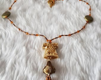Handmade Beaded Wired Necklace with Whirling Dervish Tassled Pendant