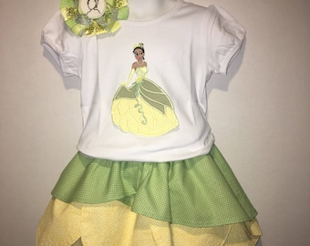 Girls Princess Tiana Skirt Set Boutique Birthday Party Twirl Twirly Skirt Embroidered Shirt TShirt Outfit! Frog Princess Hair Bow Hairbow