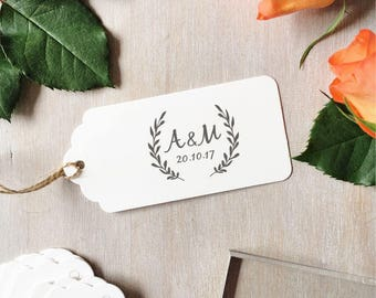 Open Wreath Wedding Stamp | Wreath Monogram Stamp - Custom Wedding Stamp - Modern Leaf Wreath - Leaf Garland