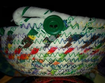 Green button upcycled cotton selvage coiled clothesline rope bowl