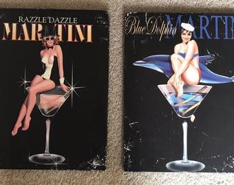 """1 or 2 Ralph Burch Canvas Prints: Razzle Dazzle & Blue Dolphin Martini 14.5""""x18"""""""