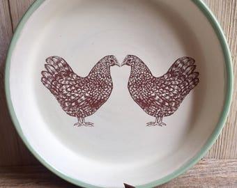 """Dominique chicken deep dish pie plate, chicken pot pie dish, hen stoneware pie plate. 9 1/4"""" dia. 1 1/2 in high.Handmade USA."""