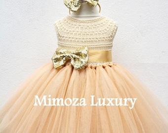 SALE Gold Deluxe Tutu dress, gold birthday dress, gold flower girl dress, golden princess dress, gold tulle dress, gold luxury girls dress