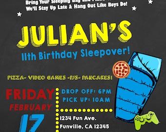 Boys Sleepover Digital Invitation