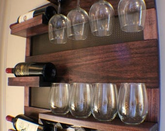 on sale 15 off stunning dark cherry stained wall mounted wine rack with shelves and - Wine Racks For Sale