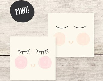 MINI! Baby Face GIRL Mini Card, Gift Enclosure Card, New Baby Girl Cards, Baby Shower