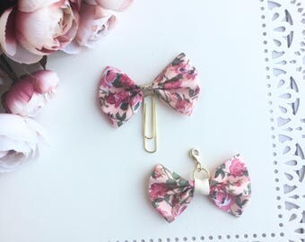 Pink Floral Traveler's Notebook Bow Charm and Planner Bow Charm