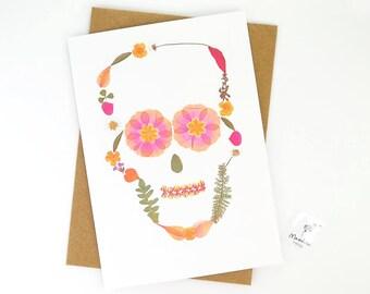 Skull card, printed pink flower skull greeting card