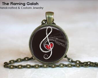 TREBLE CLEF and HEART Pendant•Treble Cleff • Gift for Musician•Music Lover•Music Teacher•Gift Under 20 • Made in Australia (P1484)