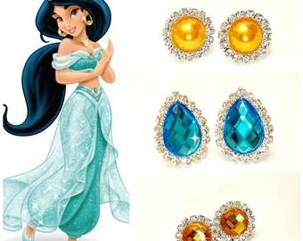 PRINCESS CRYSTAL EARRINGS, Princess Jasmine Earrings, Rhinestone Clip-On Earrings,Blue Aqua yellow gold Crystal Earrings, Fit All