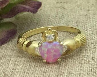 Pink Lab Opal Claddagh Ring,Gold Plated Sterling Silver Birthstone Claddagh Ring, Irish Claddagh Ring,Love Loyalty Friendship Ring