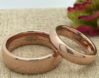 His and Hers Wedding Ring Set, Personalized Custom Engraved Rose Gold IP Plated Tungsten Ring, Wedding Rings, Promise Ring, Couples Ring