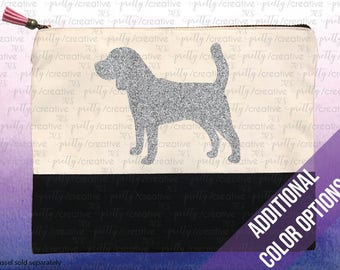 Beagle Dog Two Tone Makeup/Travel Cosmetic Bag with Black Canvas Trim -  Black, Silver or Gold Glitter