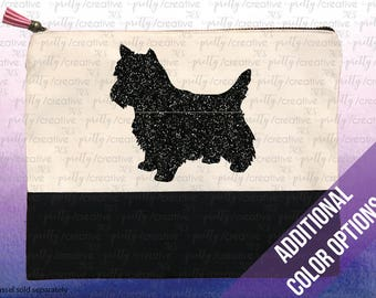 Yorkshire Terrier / Yorkie Two Tone Makeup/Travel Cosmetic Bag with Black Canvas Trim -  Black, Silver or Gold Glitter