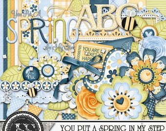 On Sale 50% You Put A Spring In My Step Mini Add On Digital Scrapbook Kit