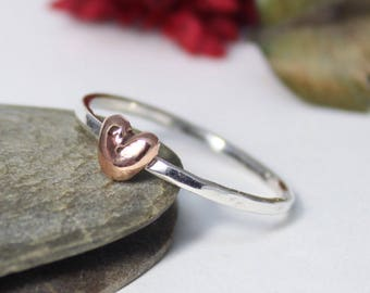 Copper Heart Ring, Statement Ring, Stacking Rustic Ring, Gift for Mom, Stacking Ring, Hammered Ring, Heart STACKING RING, Heart Ring