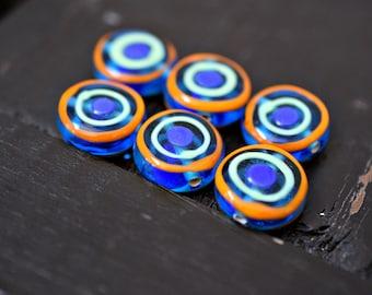 Handmade Blue Round Coin Lampwork Glass Beads, 6pcs