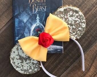 Disney ears, minnie mouse ears, mickey ears, minnie ears, disneyland ears, mickey ears headband, beauty and the beast ears, belle ears