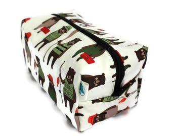 Boxy Bag -Toiletry Bag - Dopp Kit -Travel Bag -Makeup Bag - Accessory Bag - Wash Bag - Wet Bag - in Brawny Bear