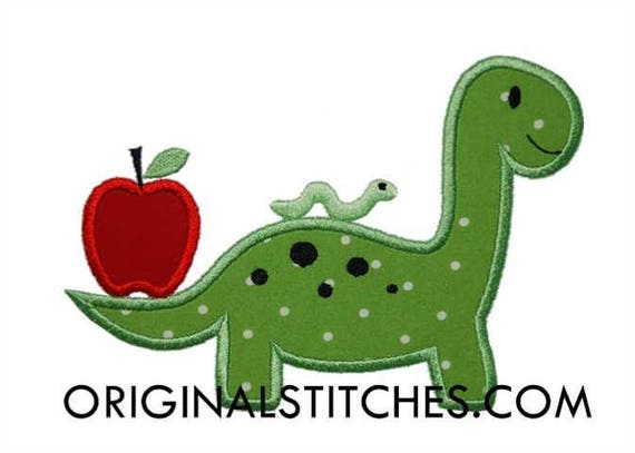 School Dinosaur Applique, Back to School Dinosaur, Dinosaur Applique, Pre-School Shirt, Back to School Applique