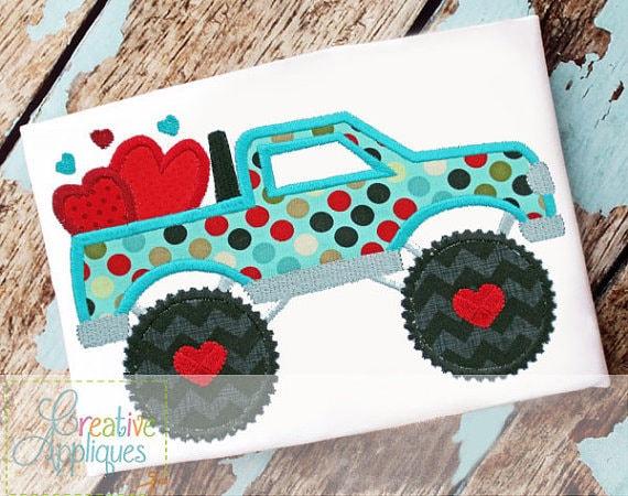 Monster Truck hearts Applique, Hearts in Monster Truck Applique, Boy Valentine's Shirt, Boy Valentine's Applique, Valentine's Day Applique