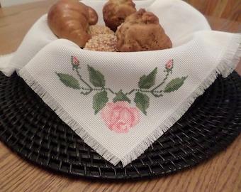 Cross Stitch Pink Rose and Leaves Bread/Basket Liner/Shelf Decor/Hpusewarming Gift