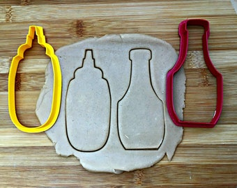 Mustard and Ketchup Bottles Cookie Cutters/Condiment Cutters/Set of 2